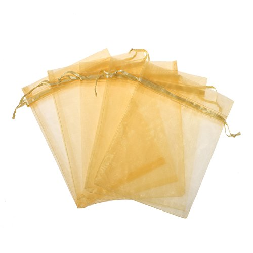 KUPOO Pack of 50PCS 8x12 Inch Organza Drawstring Gift Bag Pouch Wrap for Party/Game/Wedding (Gold)
