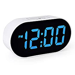 Plumeet Digital LED Alarm Clock with Dimmer and Snooze, 2 Level Alarm Volume, Large Digit Display Bedside Desk Clocks with USB Port Phone Charger, Stay Lit, Simple Operation (Wathet Blue)