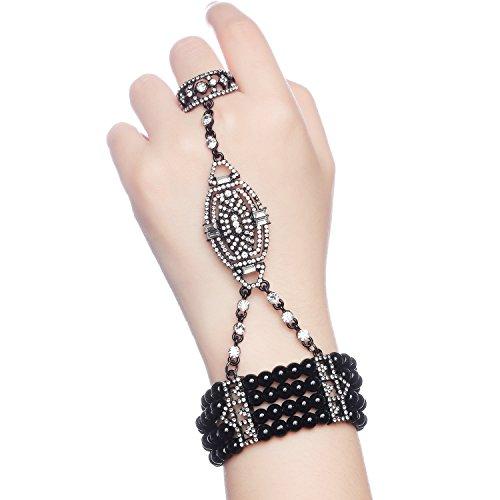 BABEYOND 1920s Flapper Bracelet Ring Set Austrian Crystals Imitation Pearl (Black)