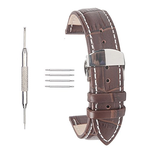 20mm Leather Watch Strap ACUNION™ Push Button Butterfly Deployment Buckle Clasp Watch Band Brown