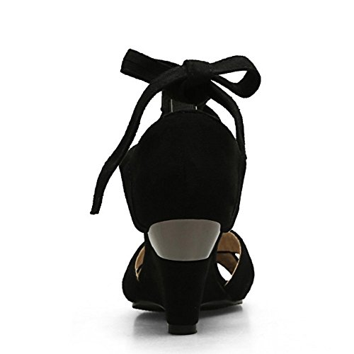 TAOFFEN Mujer Peep Toe Sandalias Fiesta Moda Tacon De Cuna Cordones Tacon Alto Zapatos Negro