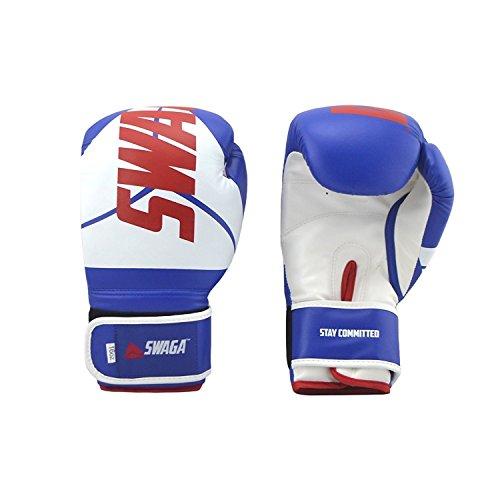 (Mattsglobal Swaga 12 oz Leather Training Boxing Gloves (Blue, 12 oz, 1 pair))