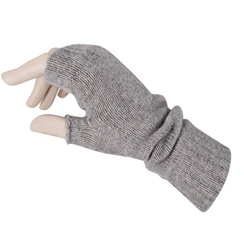Women's Fingerless Mitts Pure Cashmere Made in Scotland (Flannel Gray)