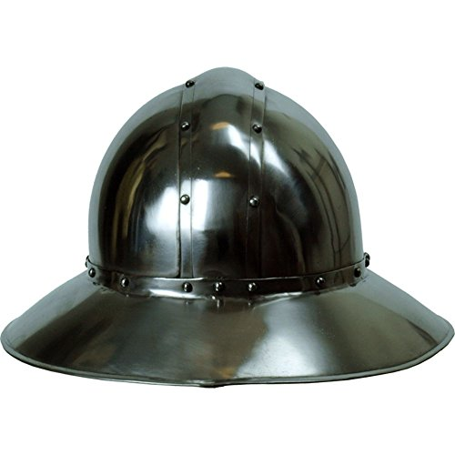 Armor Venue: Kettle Hat Helmet 16 Gauge - English Helm Armor Costume Black Large ()