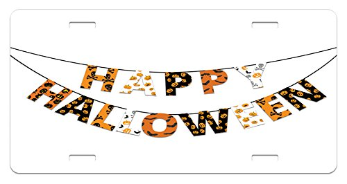 Halloween License Plate by Lunarable, Happy Halloween Banner Greetings Pumpkins Skull Bones Bats Pennant Image, High Gloss Aluminum Novelty Plate, 5.88 L X 11.88 W Inches, Orange Black (Happy Halloween Greetings)