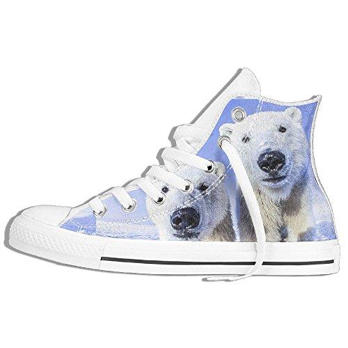 Classiche Sneakers Alte Scarpe Di Tela Anti-skid Polar Bear Casual Da Passeggio Per Uomo Donna Bianco