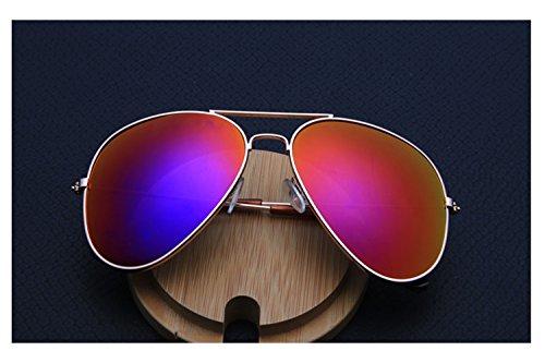 Darkey Wang Men and women fashion color film mirror driving sunglasses (Red)
