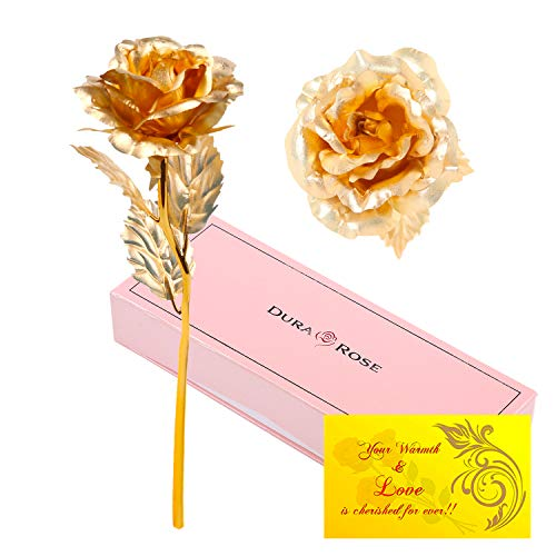 DuraRose 24k Gold Foil Rose with Love Card Everlasting Rose - Best Gift for Loves Ones. Ideal for Valentine's Day, Mother's Day, Anniversary, -