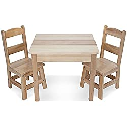 Melissa & Doug Solid Wood Table and 2 Chairs Set - Light Finish Furniture for Playroom