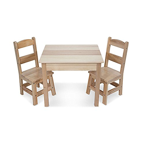 Outdoor Kids Chairs Set - Melissa & Doug Solid Wood Table and 2 Chairs Set - Light Finish Furniture for Playroom