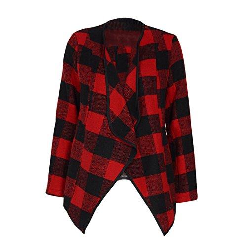 Shinekoo Women Cardigan Jacket Checked Plaid Open Front Coat Outwear by Shinekoo (Image #3)