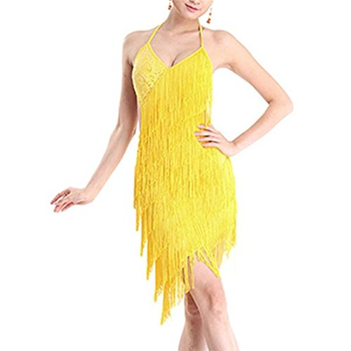 Chic Women Tiered Tassel Fringe Jazz Age Flapper Evening Dance Dress Backless Skirts (Yellow Flapper Dress)