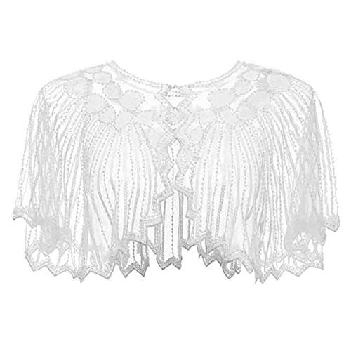 Lamosi Women's 1920s Shawl Beaded Sequin Deco Wedding Cape Evening Wrap Flapper Cover Up-White