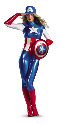 Marvel Disguise Captain America American Dream Bodysuit Womens Adult Costume