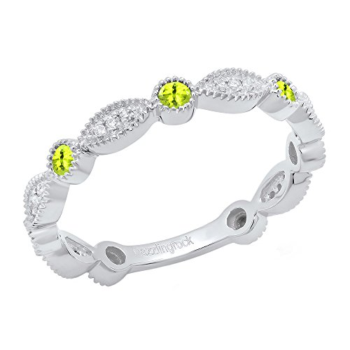 (Dazzlingrock Collection 14K Round Peridot & White Diamond Ladies Stackable Wedding Band Ring, White Gold, Size 7)