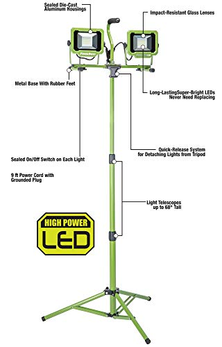 PowerSmith PWL2060TS 6000 Lumen LED Dual Head Work Light with Heavy-Duty Adjustable Metal Telescoping Tripod Stand