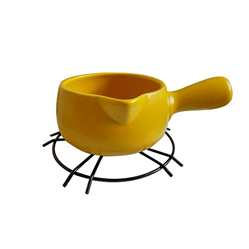 Ceramic Kitchen Milk Butter Mini Saucepan Warmer Cookware with Handle (Yellow)