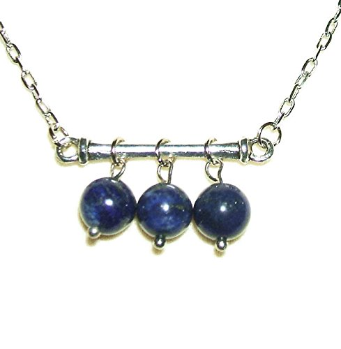 - BLUE LAPIS LAZULI NECKLACE Silver Plt GENUINE SEMI PRECIOUS GEMSTONE Throat Third Eye Chakra Stone Wisdom Truth