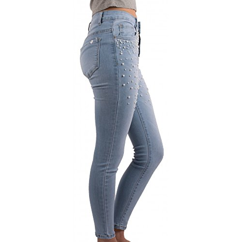 Primtex Bleu Haute Perles Jean Slim Femme Jean Coloris Taille Clair Jean Clair rIqr8Swx7
