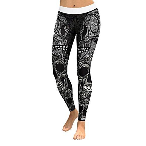 Women's Sugar Skull Print Yoga Workout Leggings Skinny Tights Active Yoga Pants (XL, Black Skull 007) -
