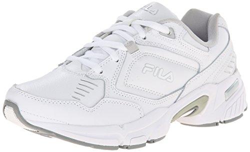 Fila Women's Memory Comfort Training Shoe, White/White/Metallic Silver, 7.5 M US