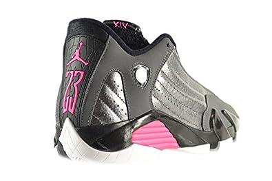 2062a644214f Amazon.com  Air Jordan 14 Retro GG Big Kids Shoes Metallic Dark Grey Hyper  Pink-Black-White 654969-028 (4.5 M US)  Shoes