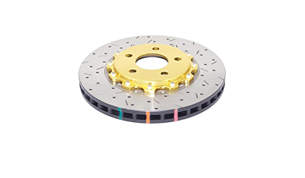 2 Piece DBA DBA52124GLDXS 5000 Series XS Gold Hat Premium Cross-Drilled and Slotted Front Vented Fully Assembled Disc Brake Rotor