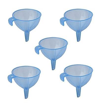 Aceite Agua eDealMax plástico de cocina líquido embudo de trasvase azul herramienta 5pcs