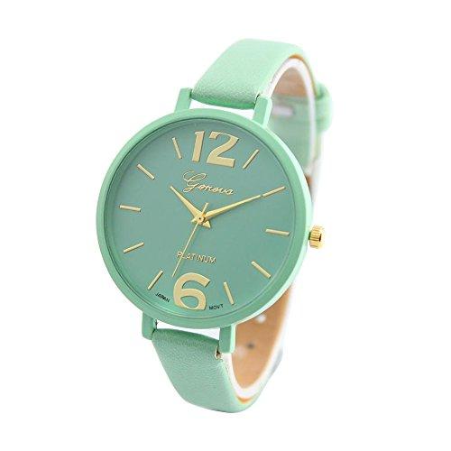Start Women Faux Thin Leather Band Net Color Elegant Wrist Watch -Mint Green