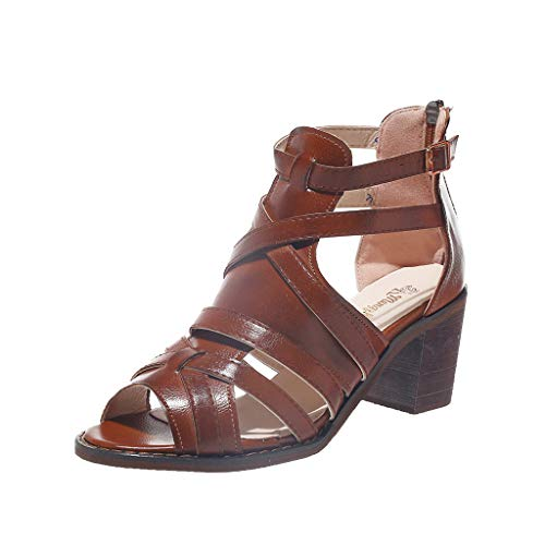Tantisy ♣↭♣ Women's Leather High Heels/Temperament Roman Shoes/Zipper/Fish Mouth/Fashion Sandals/Heel High: 6cm/2.4
