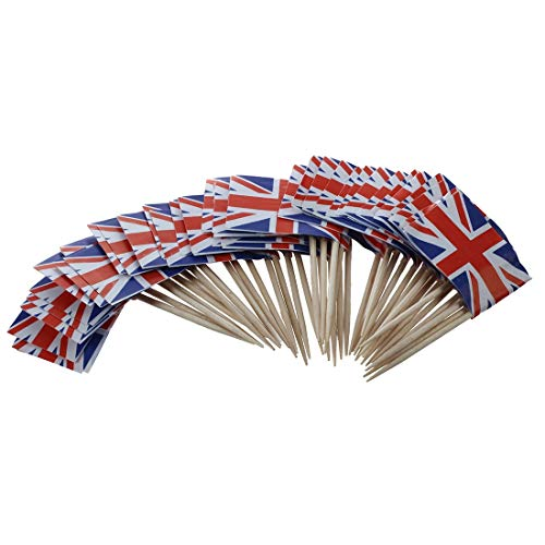 Flags, Banners & Accessories - Union Jack Flag Cocktail Sticks 50 Pack Ideal 39 S Queens Jubilee - Large Patch Stencil Blanket American Boots Decor Case Cloth Union Socks Flags Lapel Keychain ()