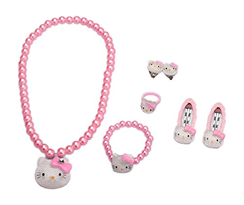 Adorable Kitty Faux Pearl Girl Jewelry 7-piece Set (Pink)