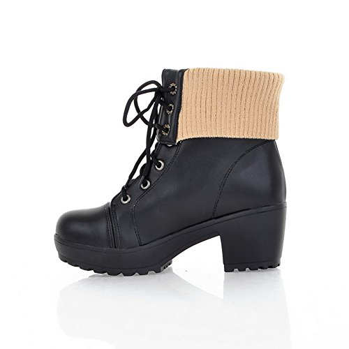 Lamb PU Imitated Round Solid Black Closed Womens Toe Boots AmoonyFashion Wool Heels Bandage with Kitten ExfY8q0nw