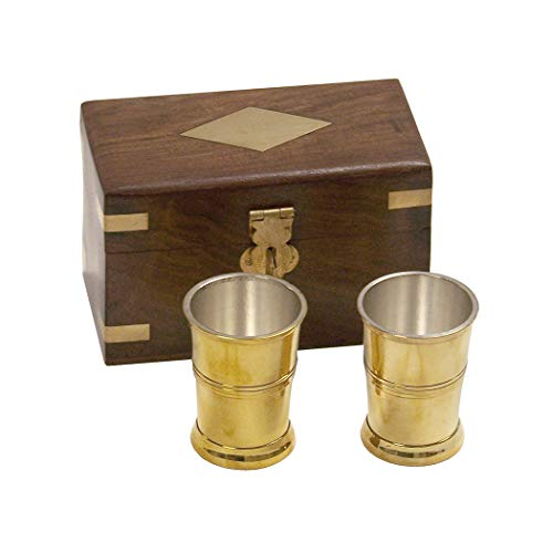 Two, One Ounce Polished Brass Vintage Rum Cups With Silver Plating in Beautiful 4