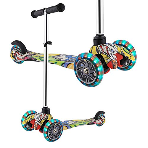 WeSkate Scooter for Kids Toddlers 3 LED Wheels Lightweight- Mini Kick Scooters Adjustable Scooters for Boys Girls Little Kids Age 3-10 ()