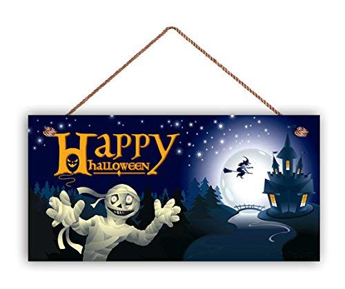 Funlaugh Happy Halloween Sign Mummy and Witch Trick Or Treat Halloween Door Sign 5 x 10 Holiday Sign Horrible Castle Spooky Sign Decorative Plaque Desk Sign Home Wooden Sign -