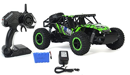 Rally Sports Car - Cross Country Speed Racing Slayer Remote Control Toy Green Rally Buggy RC Car 2.4 GHz 1:16 Scale Size w/ Working Suspension, Spring Shock Absorbers( Color May Varry )