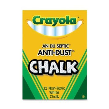 Crayola Nontoxic Anti-Dust Chalk, White, 12 Sticks/Box (50-1402) Case of 72 Dozens