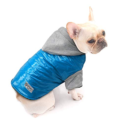 Beirui Doggy Clothes Dog Waterproof Windproof Cold Weather Warm Coat with Hood - Cotton-Padded Jacket Doggie Vest Puppy Clothes,Blue Back for 15