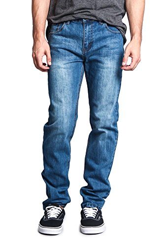 Victorious Men's Skinny Fit Stretch Raw Denim Jeans DL1004 - Classic Blue - 32/32 - DNM - Classic Raw Denim