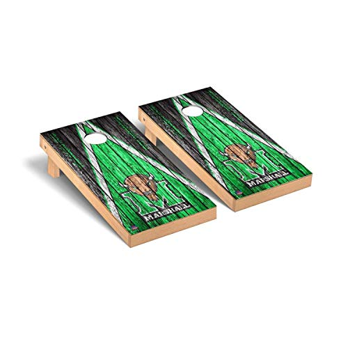 Victory Tailgate Regulation Collegiate NCAA Weathered Triangle Series Cornhole Board Set - 2 Boards, 8 Bags - Marshall Thundering Herd