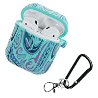 Accrie Camouflage Silicone Shockproof Protector Cover Case Carabiner for Airpods Case i10 i12 TWS Bluetooth Luminous Protector Water Duck Color Whirlwind