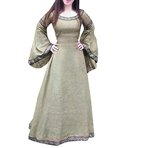 Halloween Women Medieval Dress Renaissance Lace Up Vintage Style Gothic Dress Floor Length Women Hooded Cosplay Dresses Retro (ZD_Brown, L)