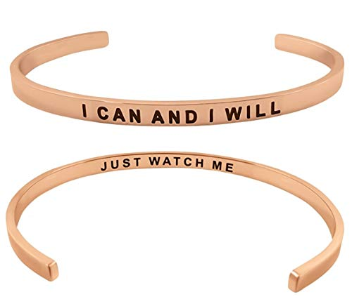 ''I Can and I Will'' Inspirational Mantra Quote Cuff Bangle Bracelet Positive Message Motivational Words of Encouragement Jewelry Gifts for Women and Teen Girls (Rose Gold)