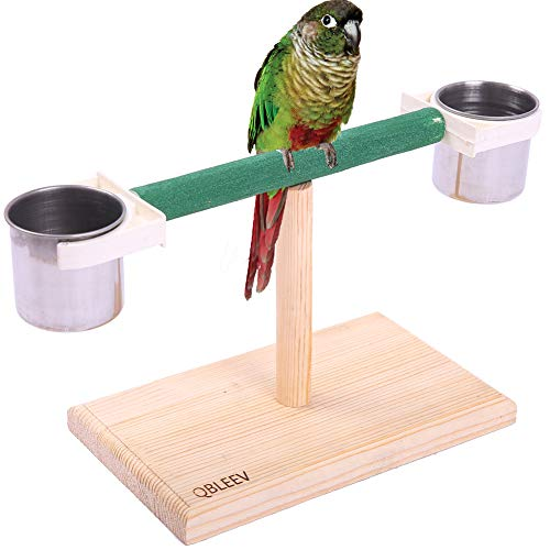 QBLEEV Bird Play Stands with Feeder Cups Dishes, Tabletop T Parrot Perch, Wood Bird Playstand Portable Training Playground, Bird Cage Toys for Small Cockatiels, Conures, Parakeets, Finch