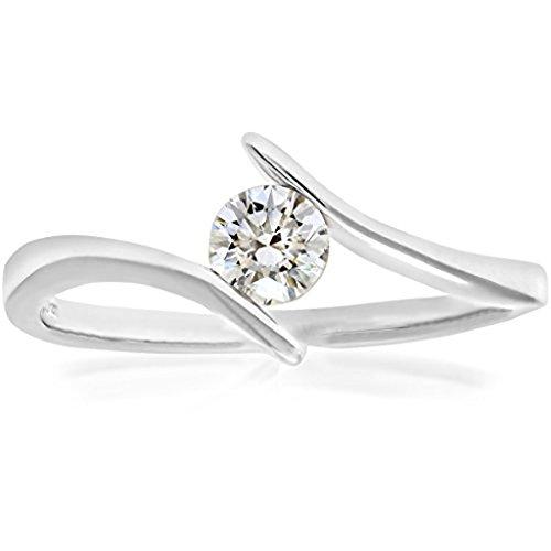mglmahi 0,50ct imitation diamant solitaire Bague de Fiançailles en Or Blanc 9Carats
