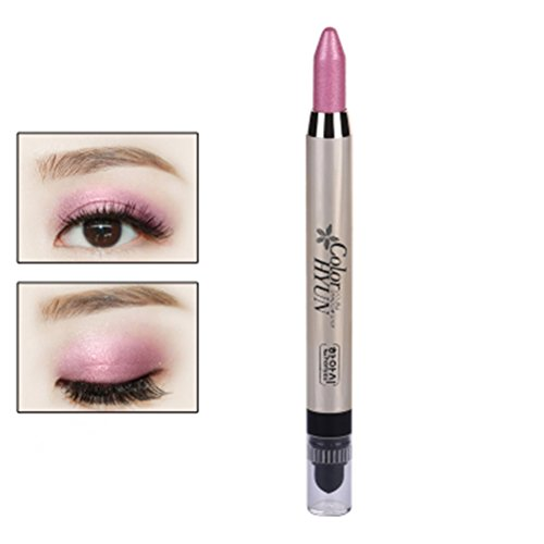 Frcolor Cream Eyeliner Eye shadow Pencil Lying Silkworm Big Smokey Eyes Shimmer Makeup Glitter Eye Liner Pen (Pink)