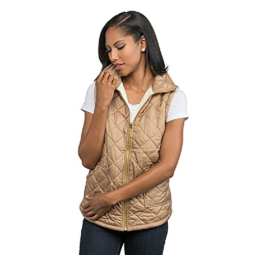 Reversible Puffer Vest (Small, Tan and Cream) (Reversible Puffer Vest)