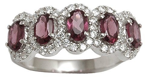 Banithani 925 Pure Silver Beautiful Rhodolite Garnet Stone Ring Women Fashion Jewelry - Garnet Sterling Silver Designer Ring