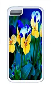 iPhone 5C Case, iPhone 5C Cases -Pansy Flowers TPU Custom iPhone 5C Case Cover Whtie